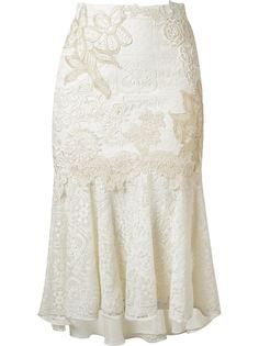 кружевная юбка миди с вышивкой Martha Medeiros