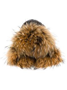 дутая шапка-ушанка с меховой отделкой Liska