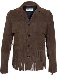замшевая куртка с бахромой Saint Laurent