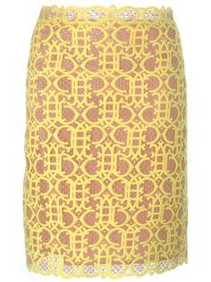 юбка с вышивкой-макраме Emilio Pucci