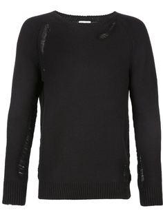 трикотажный свитер с потертыми деталями Saint Laurent