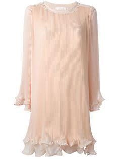 плиссированное платье с расклешенными рукавами Chloé