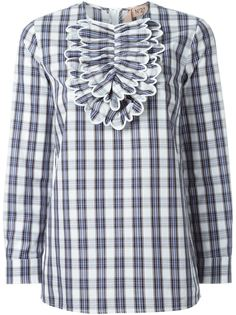 блузка в клетку с нагрудной панелью Nº21