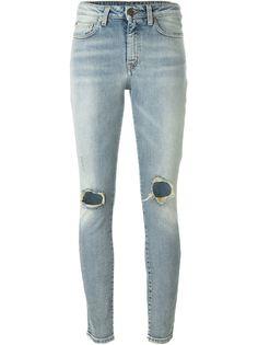 джинсы скинни с рваной отделкой Saint Laurent