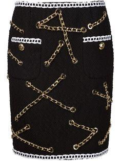 юбка букле с цепочной отделкой Moschino