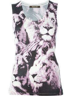топ с принтом льва Roberto Cavalli