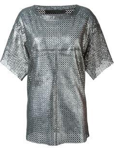 кожаная футболка с отделкой металлик Drome