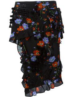 юбка-карандаш с цветочным принтом и рюшами Nº21