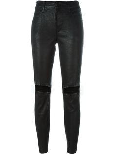 кожаные брюки с потертой отделкой Rta