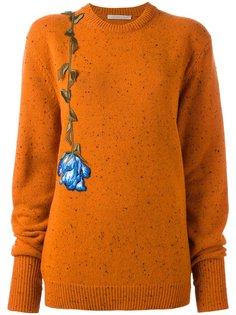 свитер с цветочной вышивкой Christopher Kane
