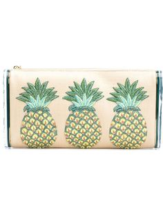клатч с вышивкой ананасов Edie Parker