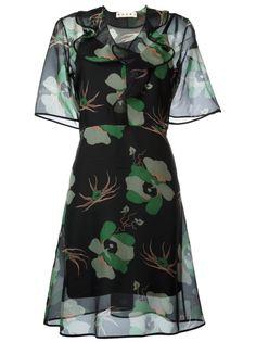 прозрачное платье с цветочным принтом Marni