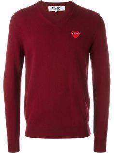свитер с V-образным вырезом Red Play Comme Des Garçons Play