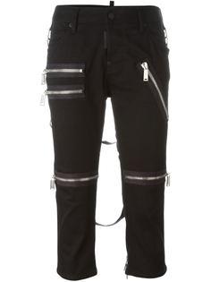 укороченные брюки с декоративными молниями Dsquared2