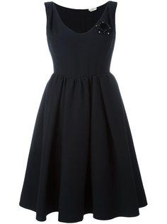 платье с цветочной аппликацией  Fendi