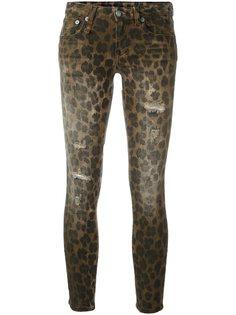 джинсы кроя скинни  с леопардовым принтом   R13