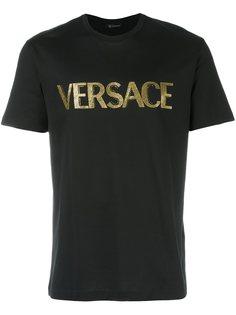 футболка с вышивкой логотипа  Versace
