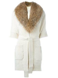 пальто с воротником из меха сурка P.A.R.O.S.H.