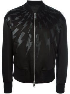 куртка-бомбер  с принтом вспышек молнии Neil Barrett