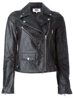 кожаная байкерская куртка Mm6 Maison Margiela