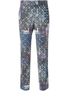 укороченные брюки с цветочным принтом Versace