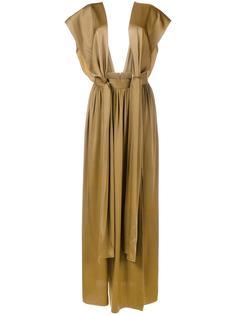 длинное драпированное платье Lanvin
