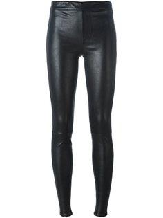 кожаные брюки кроя скинни Helmut Lang