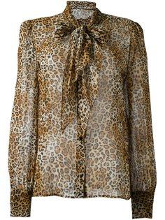 блузка с леопардовым принтом   Saint Laurent