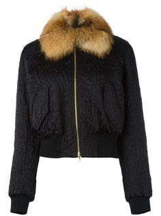куртка-бомбер с воротником из лисьего меха Lanvin