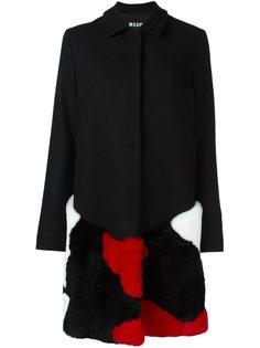 пальто с меховой панелью MSGM
