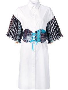 платье-рубашка с твидовыми рукавами Tome