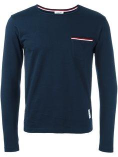 футболка с отделкой на кармане в полоску Thom Browne