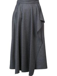 плиссированная юбка с драпированной деталью Maison Rabih Kayrouz