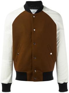 куртка-бомбер с кожаными рукавами Ami Alexandre Mattiussi