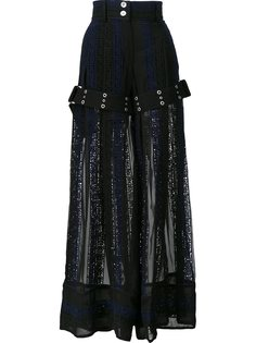 широкие брюки с каллиграфической вышивкой Sacai