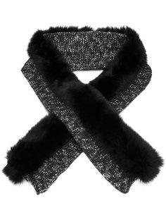 трикотажный шарф с отделкой из лисьего меха Moncler