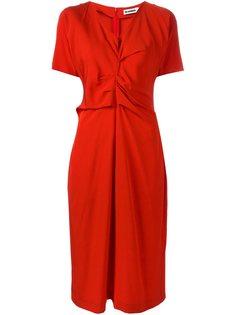 драпированное платье с короткими рукавами Jil Sander