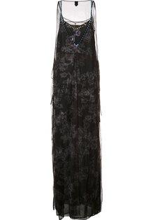 длинное тюлевое платье декорированное кристаллами Vera Wang