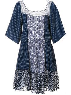 платье в горох с кружевными вставками Chloé