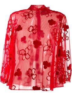 прозрачная блузка с цветочным узором Simone Rocha