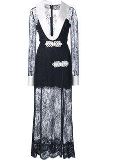 кружевное платье с V-образным вырезом Alessandra Rich