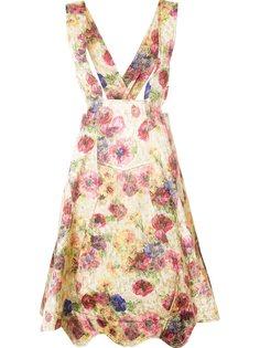 юбка с цветочным рисунком и подтяжками Comme Des Garçons