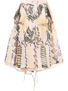 юбка с каллиграфическим принтом Sacai