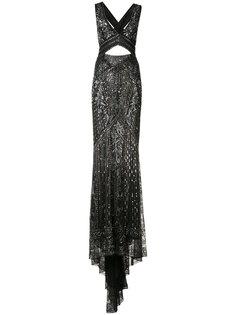 вышитое платье с вырезным дизайном Roberto Cavalli