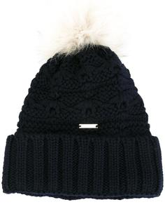 шапка-бини с помпоном из лисьего меха Woolrich