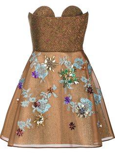 декорированное платье без бретелек Delpozo
