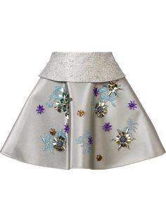 мини юбка с вышивкой биссером Delpozo