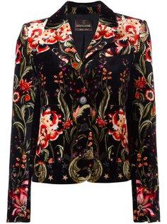 бархатный пиджак с цветочным узором Roberto Cavalli