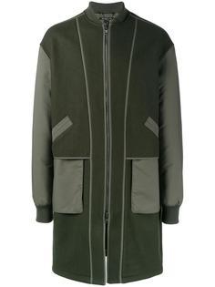пальто на молнии с контрастными рукавами Helmut Lang