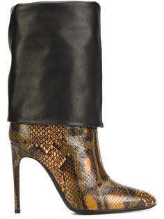 ботинки с эффектом змеиной кожи Pollini